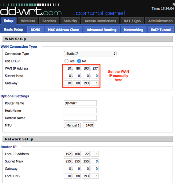 Setting a Static WAN IP address on the TP-Link and DD-WRT routers